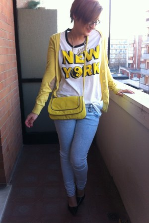 yellow shoulder bag H&M bag - skinny jeans Tally Weijl jeans