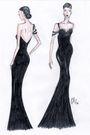 Black-dress-white-earrings