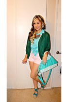 tribal gold Forever21 necklace - teal DDs Discount bag - H&M shorts