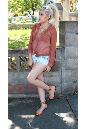 bleach denim Forever21 shorts - tan sheer Forever21 blouse