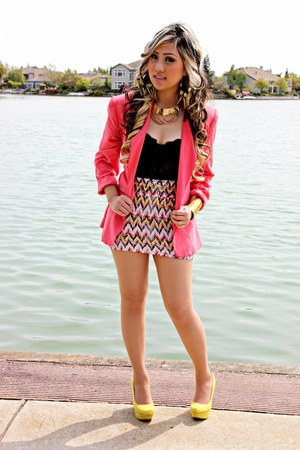 bright coral blazer - Forever21 shirt - tribal colored DDS DISCOUNT skirt