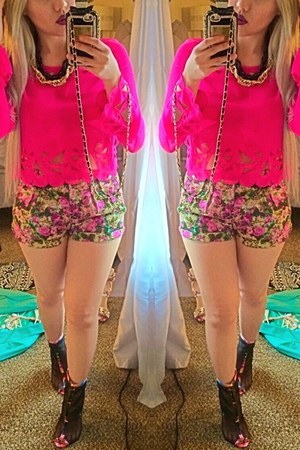 JCPenney shirt - floral print Forever 21 shorts