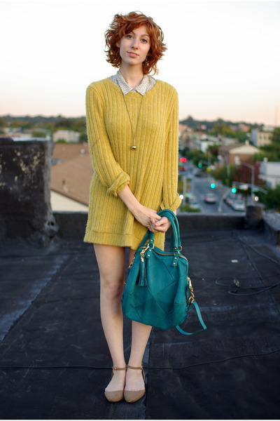 mustard wool vintage sweater - turquoise blue Rebecca Minkoff bag