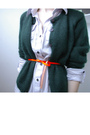 Green-thrifted-sweater-blue-thrifted-dress-orange-jcrew-belt-gold-made-by-