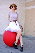 white pleated ADAM skirt - tan DBG bag - black Deena & Ozzy wedges