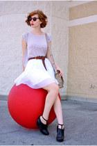 white pleated ADAM skirt - tan DBG bag - black Deena & Ozzy wedges