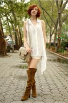 crimson Zara boots - beige BDG bag - tan silk slip vintage intimate