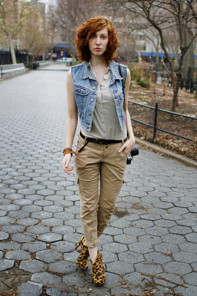 tawny Schutz boots - white Forever 21 blouse - tan Glo pants - sky blue Thrifed