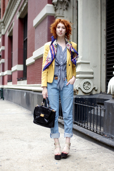 yellow aryn k blazer - light blue Gap boyfriends jeans - blue silk vintage scarf