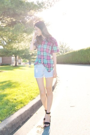 American Eagle shirt - light blue Forever 21 shorts - black Zara heels