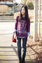 magenta Zara sweatshirt - ruby red Mango bag