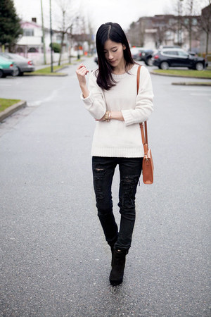 black Forever21 pants - white Gap sweater