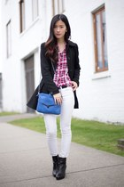 blue botkier bag - black Nine West boots - black Zara coat