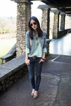 aquamarine Forever21 sweater - navy old jeans