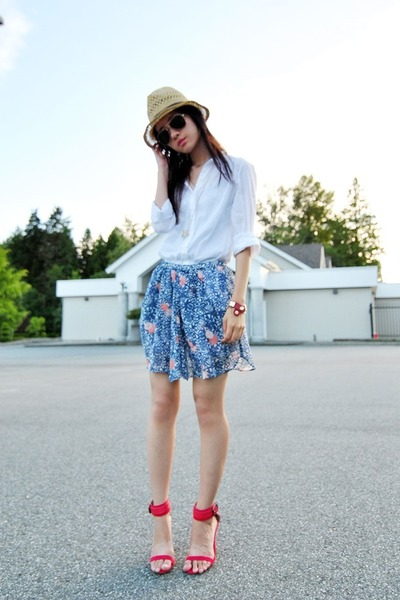sky blue Zara skirt - red Zara heels - white H&M blouse