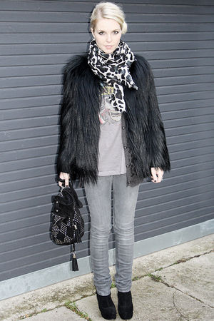 black Topshop coat - gray Stella McCartney jeans - black Topshop accessories