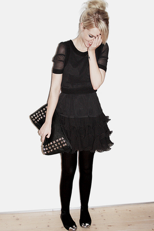 black H&M dress - Friis & Co accessories - Zara shoes