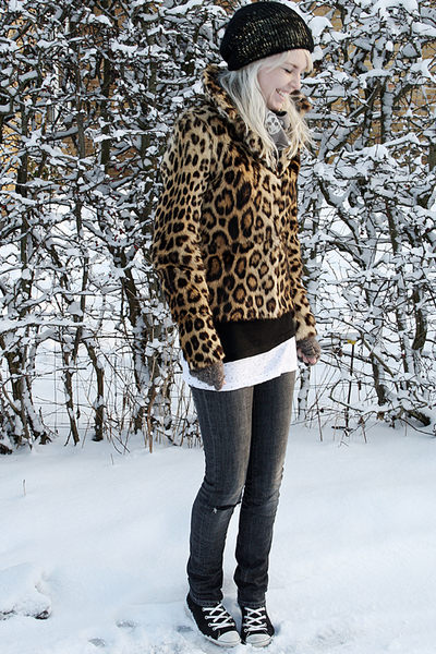 gold vintage coat - gray acne jeans