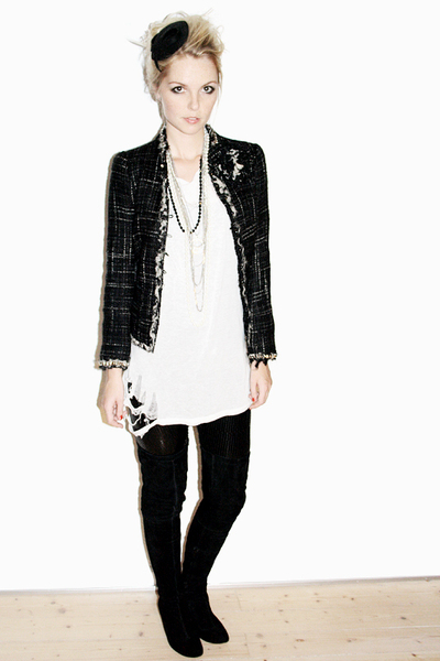 black Zara jacket - black Friis & Co boots - black H&M hat