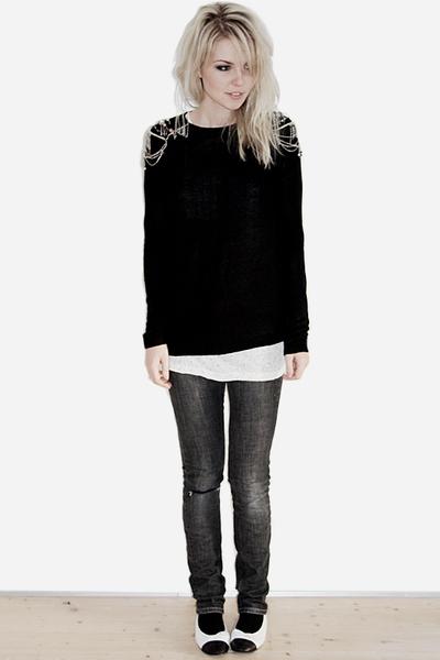white Chanel shoes - gray acne jeans - black Zara sweater