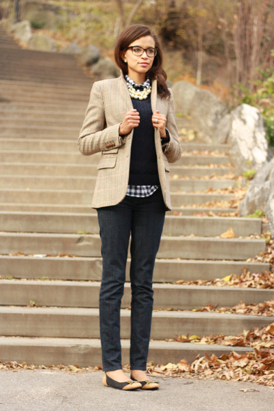 Zara blazer - J Crew jeans - Brooks Brothers sweater - Shabby Apple flats