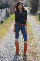printed Sway Chic blouse - leather Frye boots - denim H&M jeans