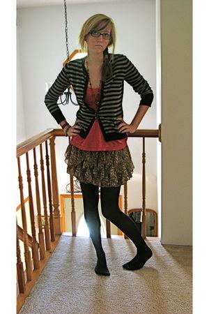 gray Target sweater - pink hollister top - Charlotte Russe skirt - black Target
