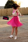 White-vintage-new-look-shoes-hot-pink-pleated-skirt-tk-maxx-dress