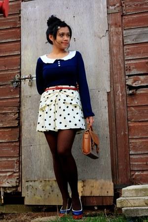 white polka dot bow Primark skirt - tawny thrifted bag
