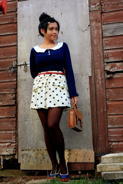 white polka dot bow Primark skirt - tawny thrifted bag