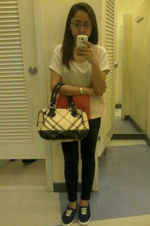 Burberry bag - Forever 21 blouse - Keds sneakers