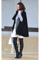 black H&M cape - black over the knee Nina boots - white Topshop dress
