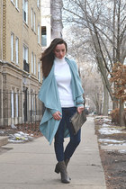 light blue thrifted etcetera cardigan - gray ankle boots asos boots
