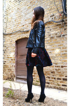 black velvet MinkPink dress - black leather Nordstrom jacket