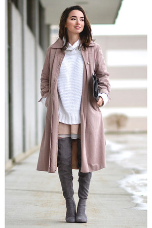 light pink unlabeled coat - heather gray Forever 21 boots