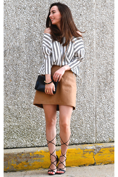 camel Gap skirt - white Notations top - black Bakers heels