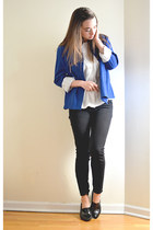 blue thrifted vintage blazer - white thrifted vintage blouse