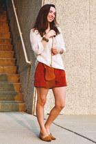 brick red Forever 21 shorts - white Target top - camel casual corner heels