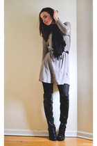 black Marc Fisher boots - heather gray H&M dress - black Express tights
