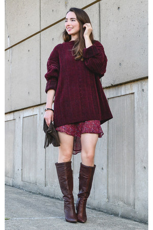 dark brown thrifted Bakers boots - maroon thrifted Urban Outfitters dress