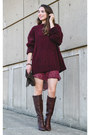 Dark-brown-thrifted-bakers-boots-maroon-thrifted-urban-outfitters-dress
