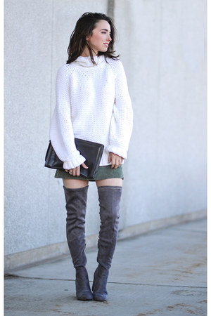 white thrifted liz claiborne sweater - charcoal gray Forever 21 boots
