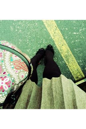 black Christian Louboutin shoes - tan Lancel bag