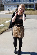 black Random Kohls jacket - black Forever 21 shirt - brown thrifted skirt - blac