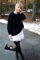 black thrifted sweater - pink Charlotte Russe skirt - black random tights - blac