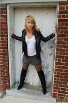 black forver 21 jacket - black DSW boots - black Victorias Secret tights