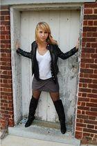 black forver 21 jacket - black DSW boots - black Victorias Secret tights