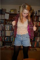 Hand Made jacket - forever 21 intimate - Salvation Army shorts - random tights -
