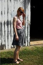 pink Forever 21 shirt - gray Forever 21 skirt - black Nine West shoes - brown fo