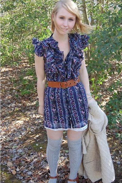 blue Forever 21 dress - white Charlotte Russe dress - silver Target socks - brow